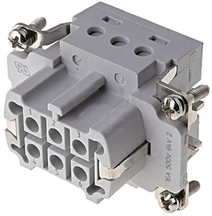 TE Connectivity HE Series size 3 Connector Insert, Female, 6 Way, 16A, 400 V
