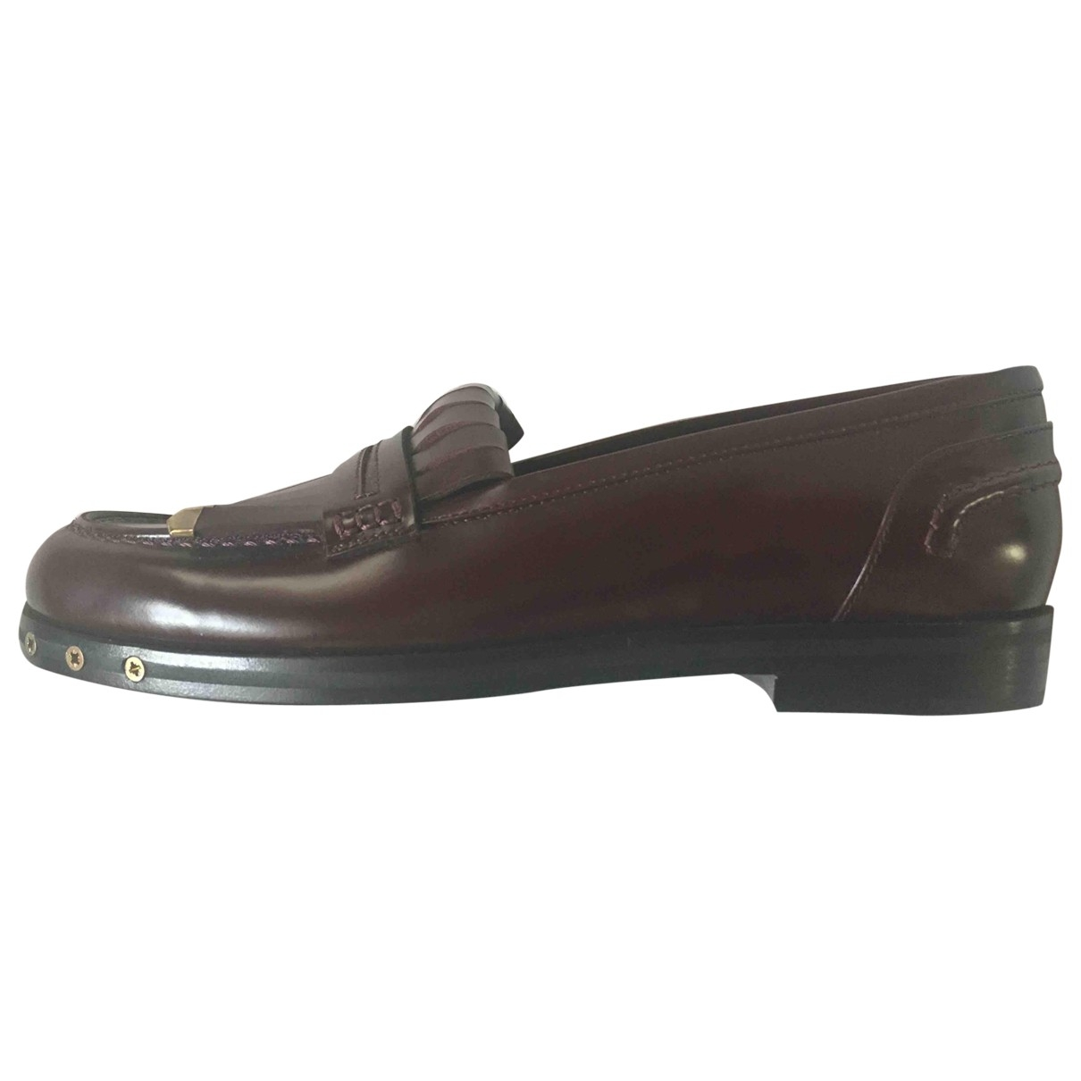 Lanvin \N Burgundy Leather Flats for Women 36 EU