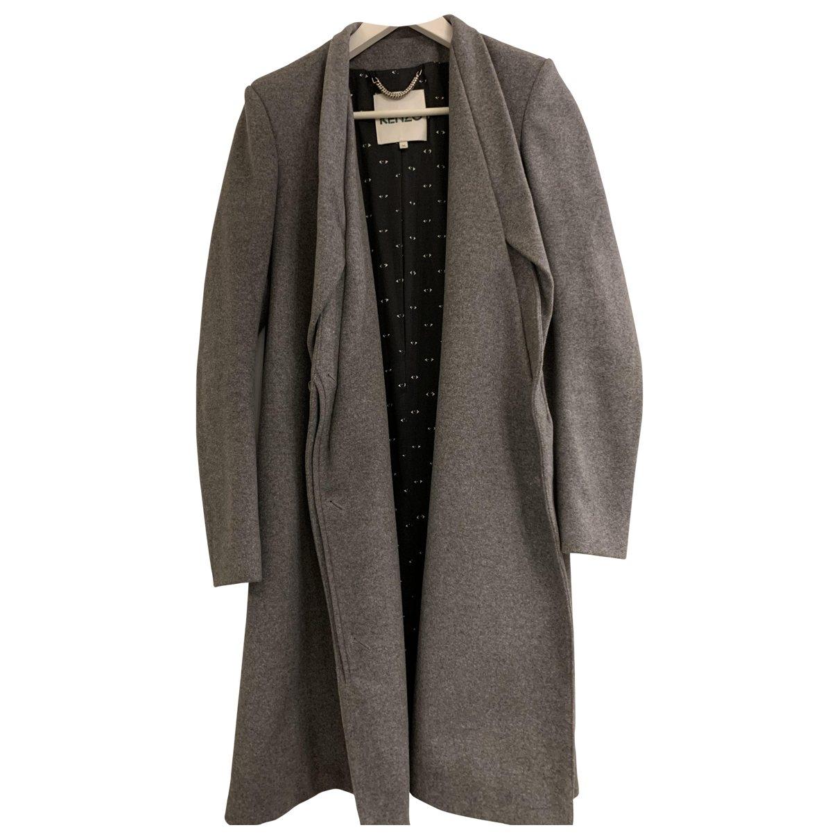 Kenzo - Manteau   pour femme en laine - gris
