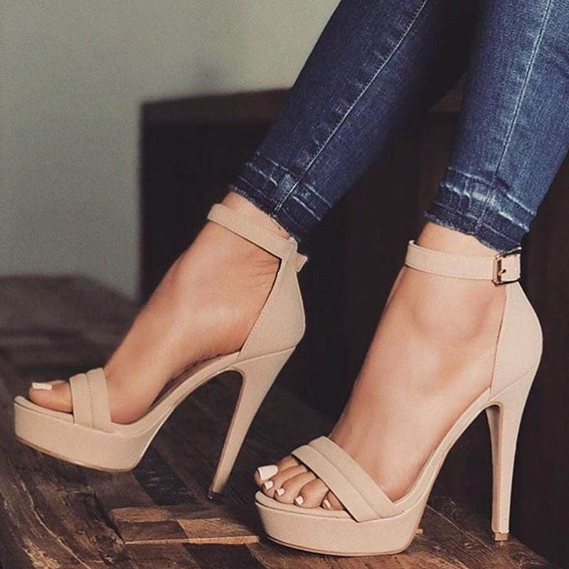 Ericdress Platform Open Toe Line-Style Buckle Stiletto Sandals