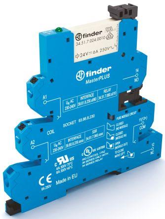 Finder , 60V ac/dc SPDT Interface Relay Module, Push In Terminal , DIN Rail