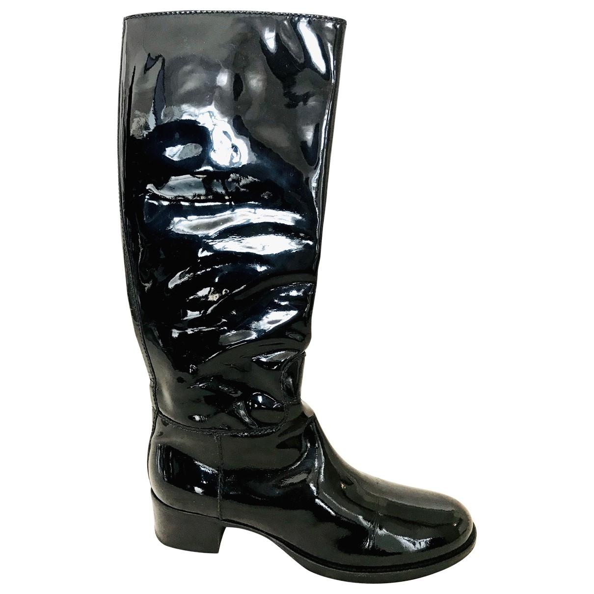 Carshoe - Bottes   pour femme en cuir verni - noir
