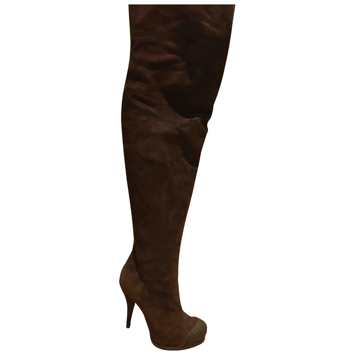 Fendi - Bottes   pour femme en suede - marron