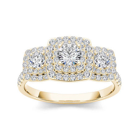 1 CT. T.W. Diamond Halo 10K Yellow Gold Engagement Ring, 8 , No Color Family