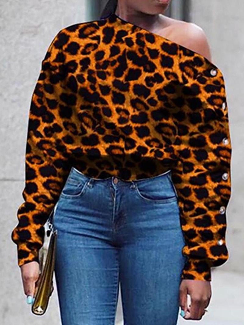 Ericdress Leopard Off Shoulder Print Standard Womens Blouse