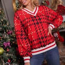 Pullover mit sehr tief angesetzter Schulterpartie, Streifen und Karo Muster