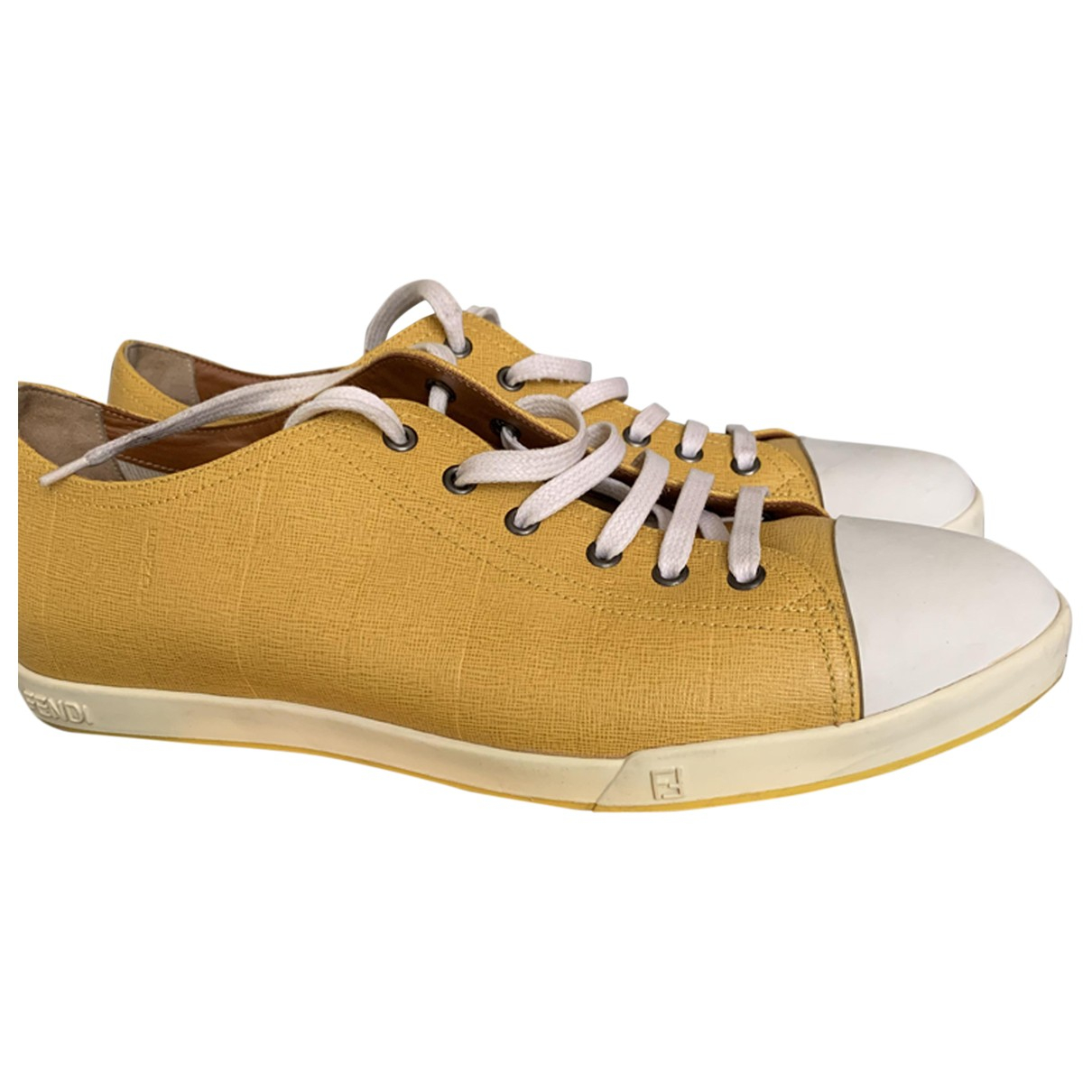 Fendi N Yellow Cloth Trainers for Men 10.5 US