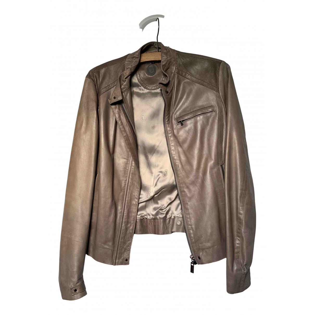 Trussardi - Veste   pour femme en cuir - beige