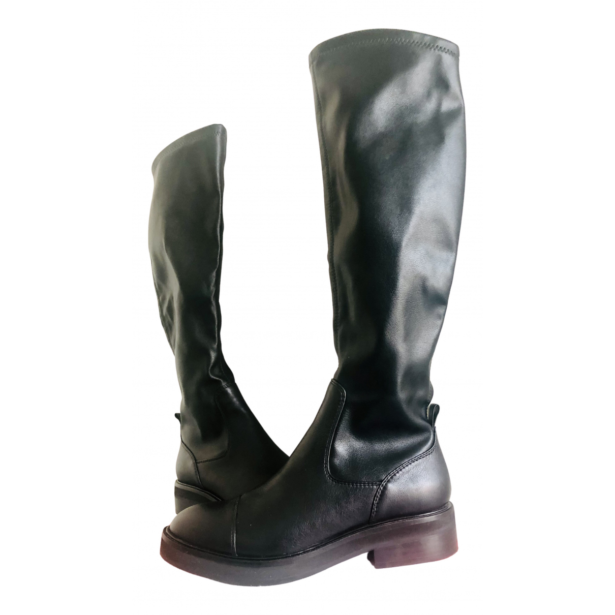 Intrend N Black Leather Boots for Women 36 EU