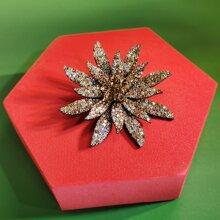 1 pieza broche con diseño de flor con diamante de imitacion