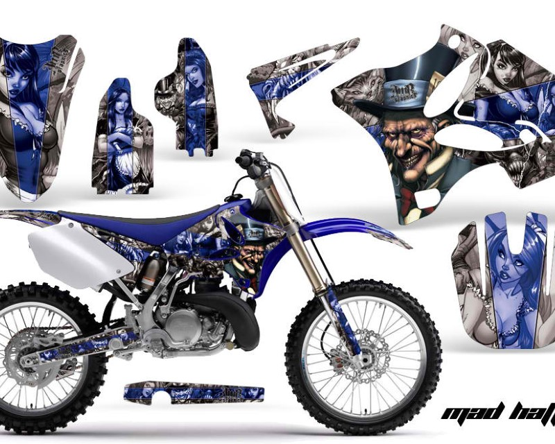 AMR Racing Dirt Bike Graphics Kit Decal Wrap for Yamaha YZ125 YZ250 2002-2014áHATTER BLUE SILVER