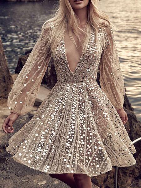 Milanoo Patinador vestidos geometrica de poliester con cuello en V de las lentejuelas albaricoque atractivo de manga larga en forma y vestido de la ll