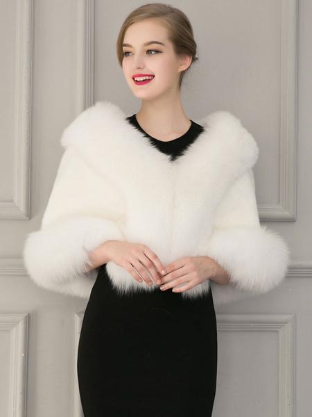 Milanoo Women\'s Faux Fur Coats Half Sleeves Sexy Windbreaker Layered V-Neck White Winter Coat