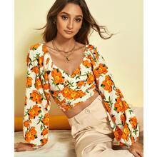 Tie Back Floral Print Crop Top