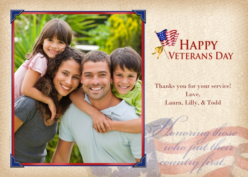 Veteran's Day Cards 5x7 Cards, Premium Cardstock 120lb with Elegant Corners, Card & Stationery -Happy Veterans Day