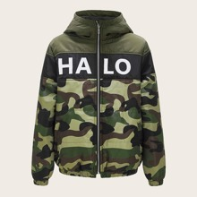 Jacke mit Buchstaben Grafik und Camo Muster