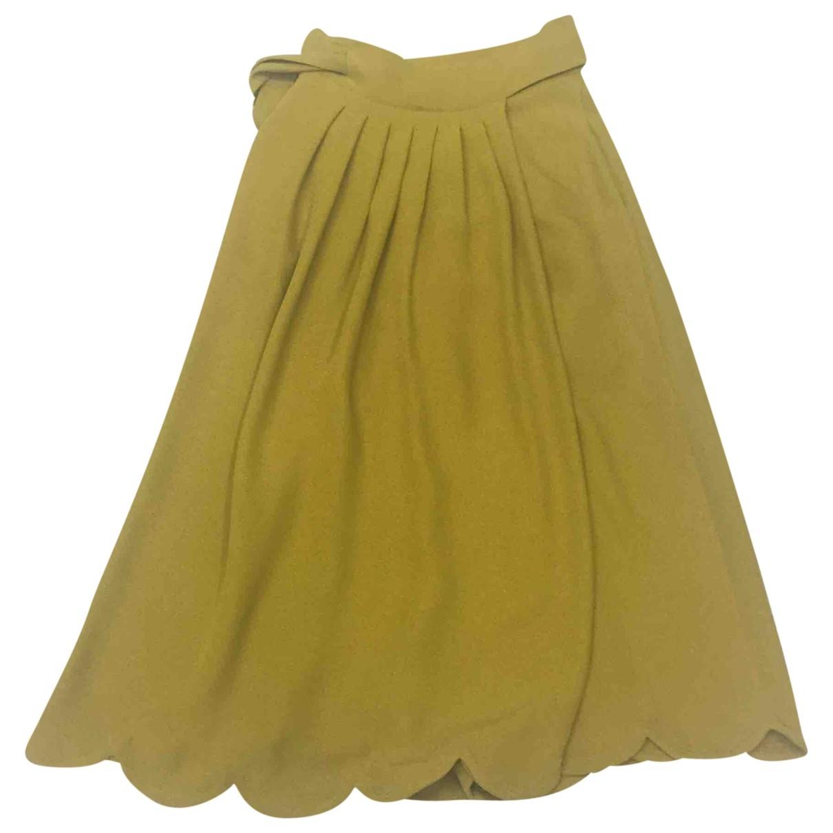Valentino Garavani \N Yellow Silk skirt for Women 44 IT