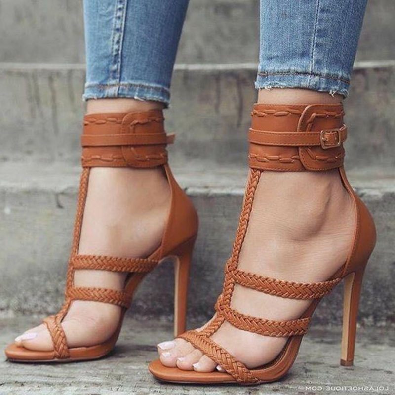 Ericdress Buckle High-Cut Plain Open Toe Stiletto Sandals