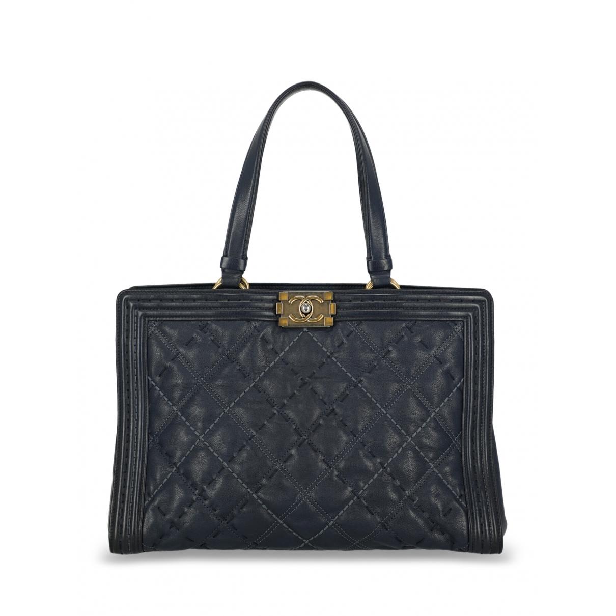 Chanel Boy Tote  Handtasche in  Blau Leder