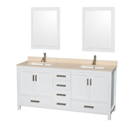 WCS141472DWHIVUNSM24 72 in. Double Bathroom Vanity in White  Ivory Marble Countertop  Undermount Square Sinks  and 24 in.