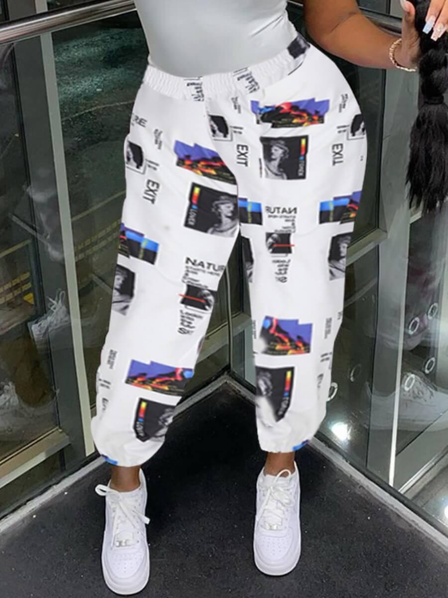 LW Lovely Street Mid Elastic Print White Pants