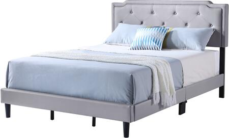 Deb Collection G1112-FB-UP Full Size Bed with Tufted Headboard and Support Slats and Legs in Grey Faux