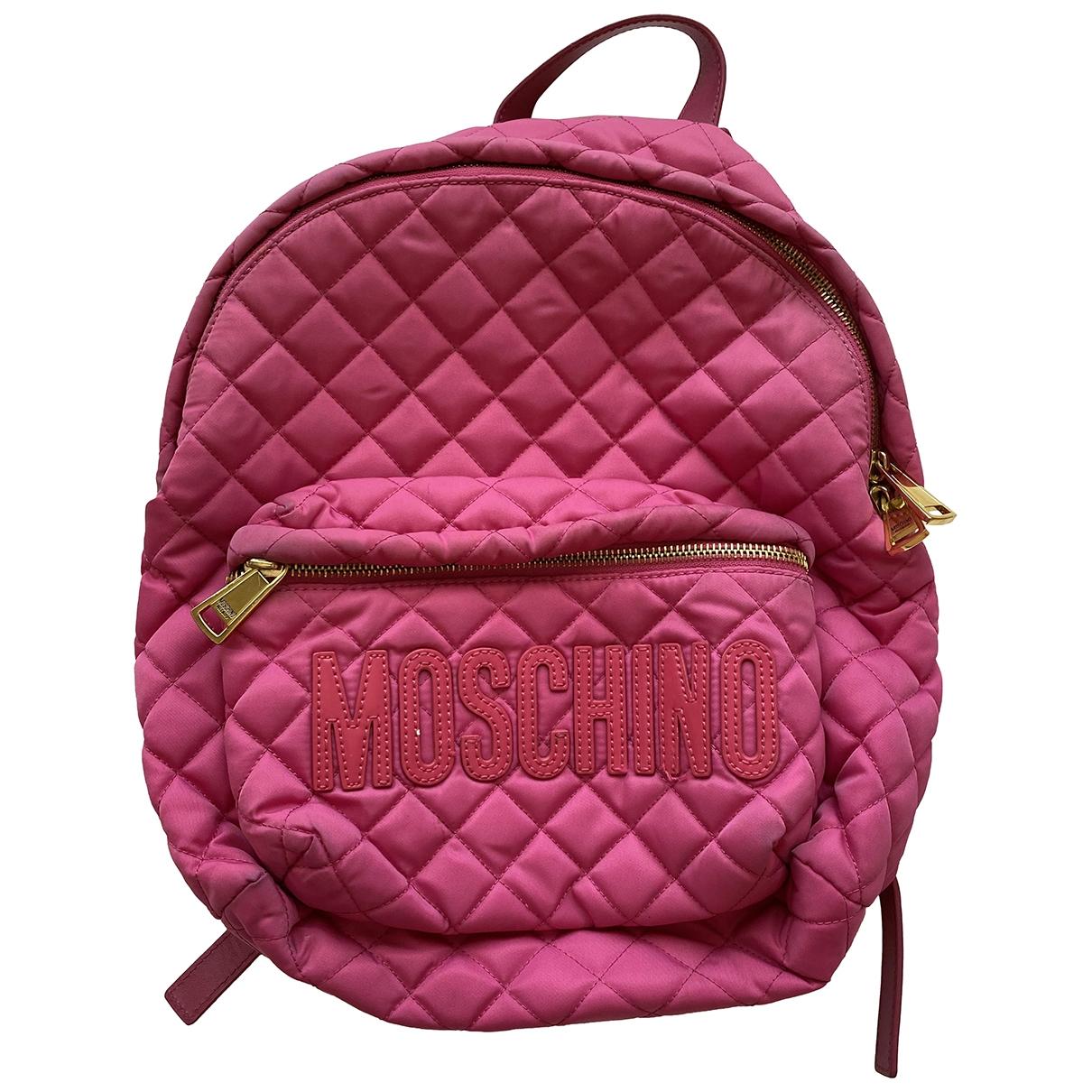 Moschino - Sac a dos   pour femme en toile - rose