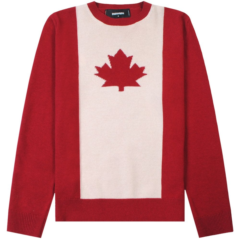 DSquared2 Maple Leaf Knitted Jumper Colour: RED, Size: LARGE