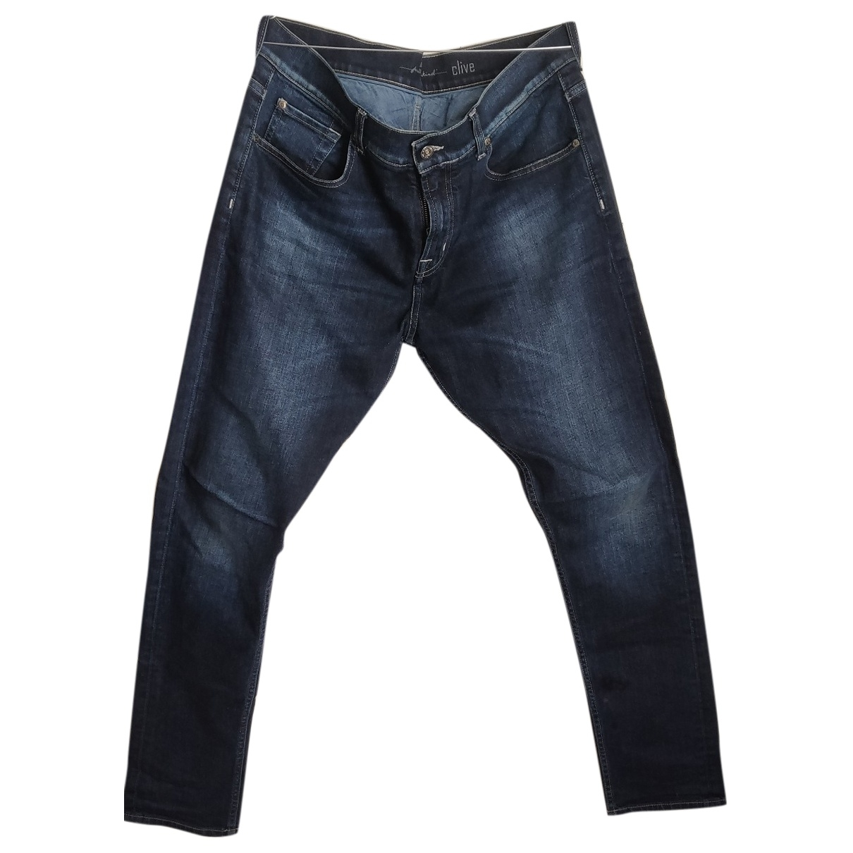 7 For All Mankind \N Blue Cotton - elasthane Jeans for Men 33 US