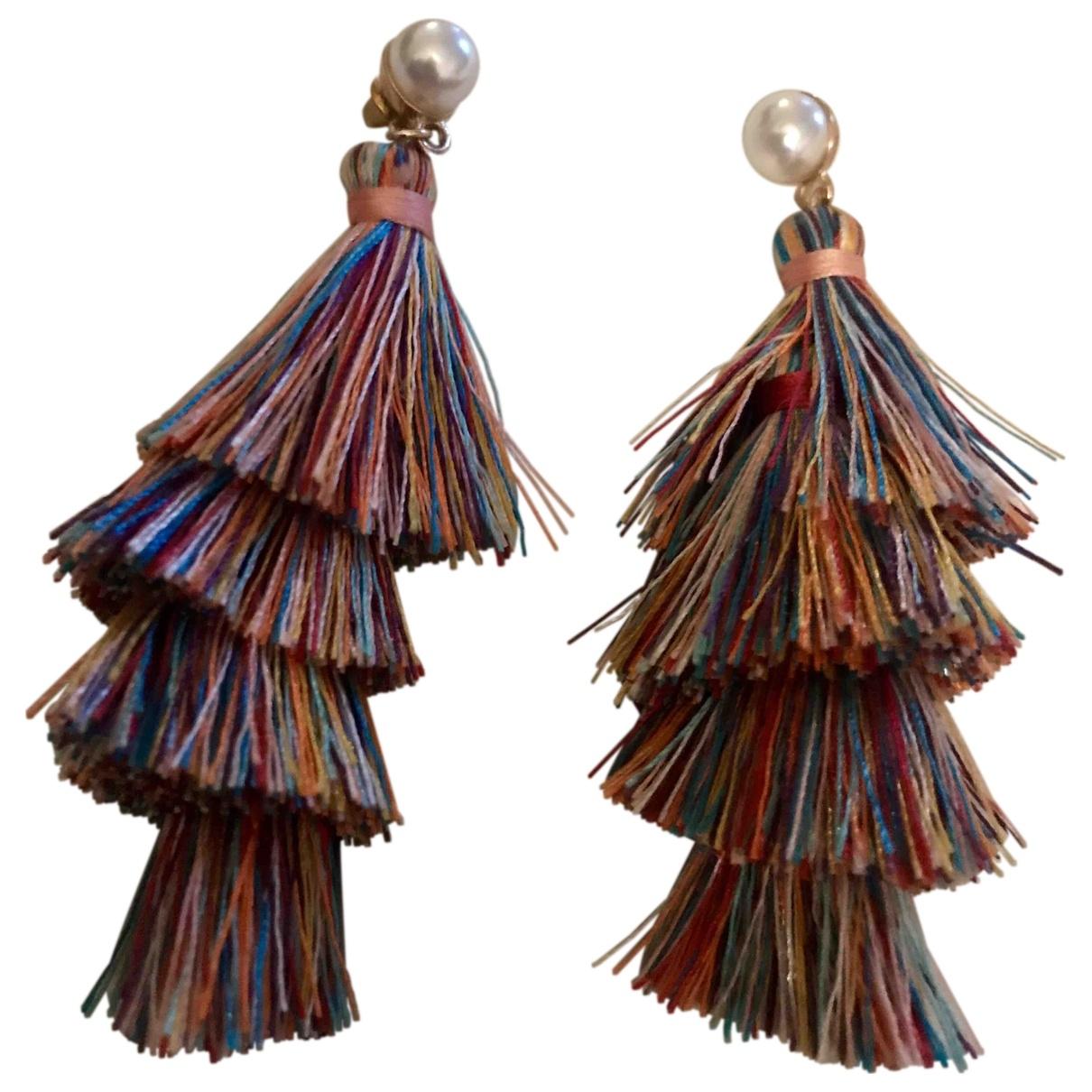 - Boucles doreilles Motifs Ethniques pour femme en soie - multicolore
