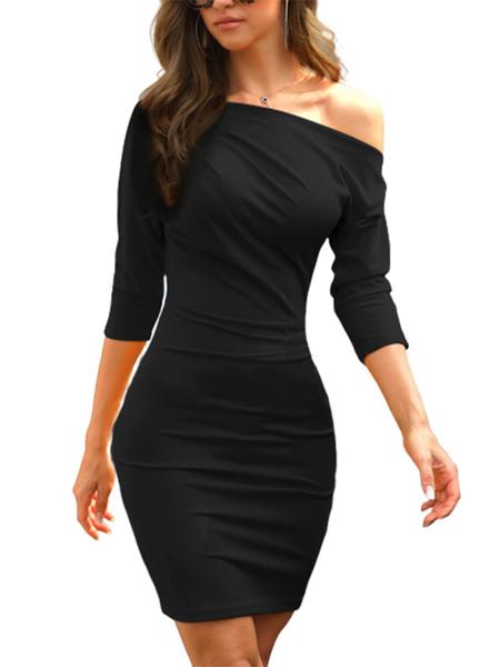 Yoins Black One Shoulder Half Sleeves Super Soft Dress