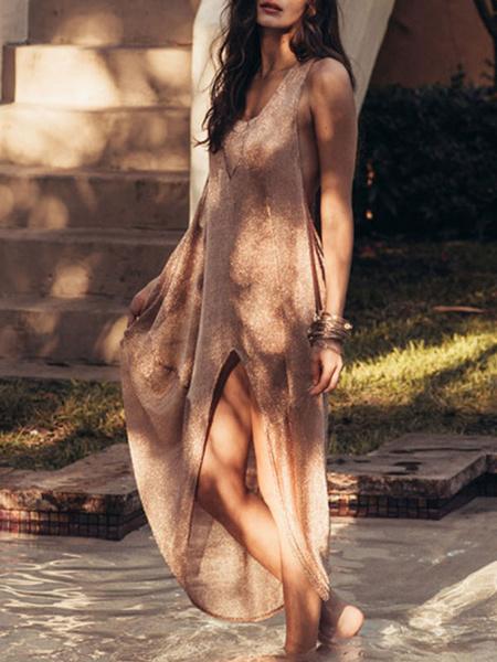 Milanoo Vestido largo caqui  Color liso sin mangas Vestidos de poliester de talla muy grande con abertura lateral con escote redondo Verano