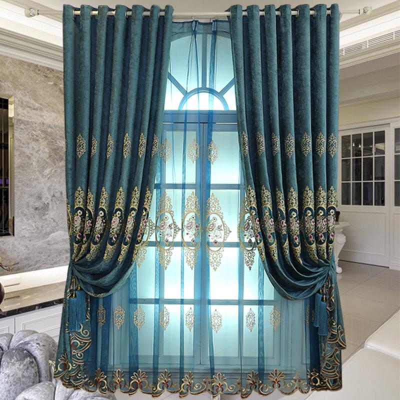 Classy Organza Blue Yarn 2 Panels Living Room and Bedroom Sheer Curtain