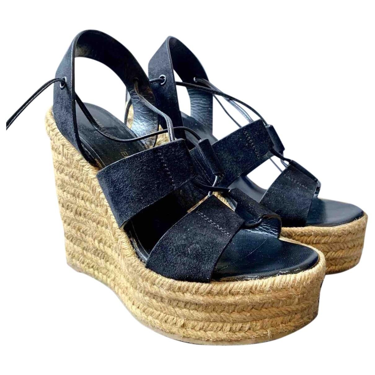 Saint Laurent \N Black Suede Sandals for Women 37 EU