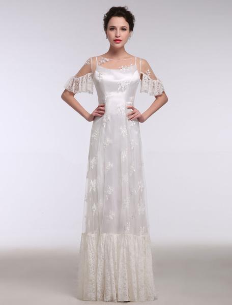 Milanoo Vestidos de novia de verano 2020 Boho Beach Lace Illusion Ruffle manga corta vestido de novia de longitud del piso vestido de novia de cambio