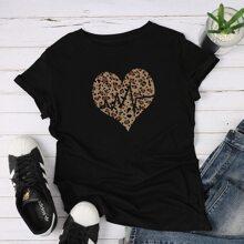 T-Shirt mit Herzen und Leopard Muster