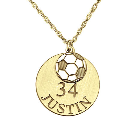 Personalized Soccer Double-Charm Necklace, One Size , Yellow