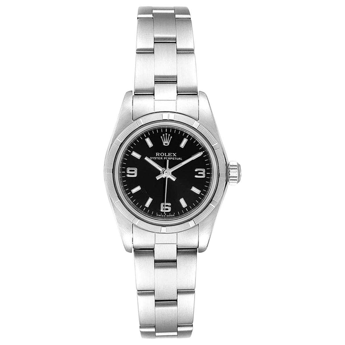 Rolex Lady Oyster Perpetual 24mm Black Steel watch for Women \N