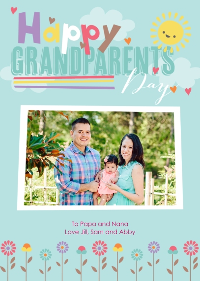 Grandparent's Day Flat Matte Photo Paper Cards with Envelopes, 5x7, Card & Stationery -Floral Frenzy