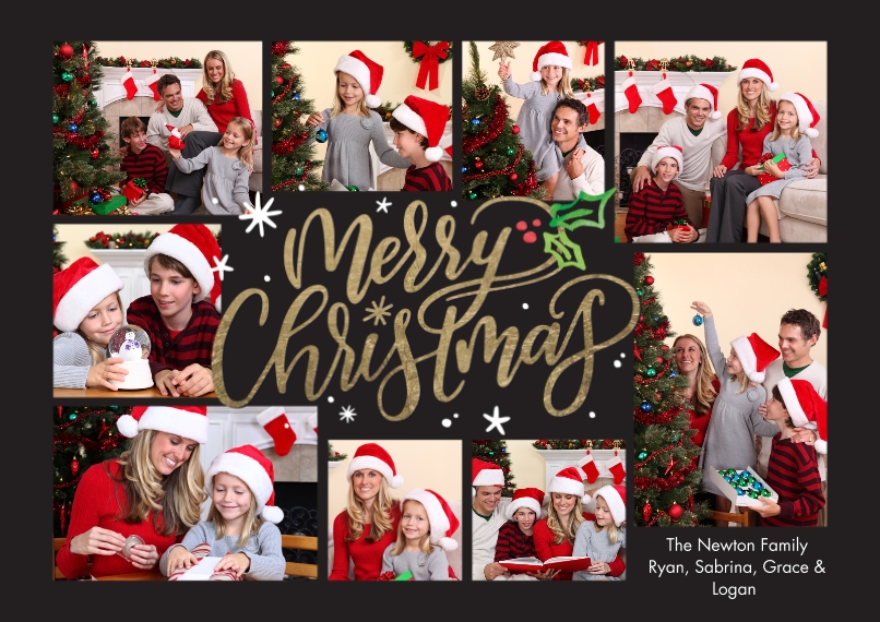 Christmas Photo Cards 5x7 Cards, Premium Cardstock 120lb, Card & Stationery -Christmas Gleeful Script by Tumbalina