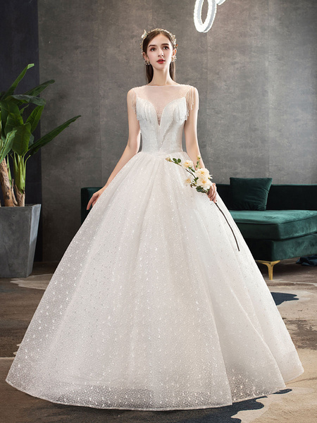 Milanoo Princess Wedding Dresses Ivory Illusion Neck Beaded Sleeveless Floor Length Bridal Gown