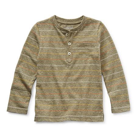 Okie Dokie Toddler Boys Long Sleeve Henley Shirt, 4t , Blue