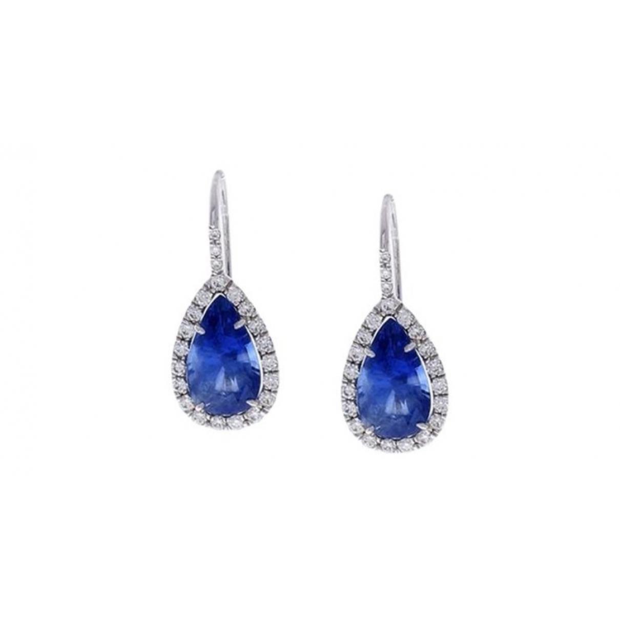 Non Signé / Unsigned Saphir Blue White gold Earrings for Women \N