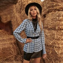 Plaid Button Front Blazer Without Belted