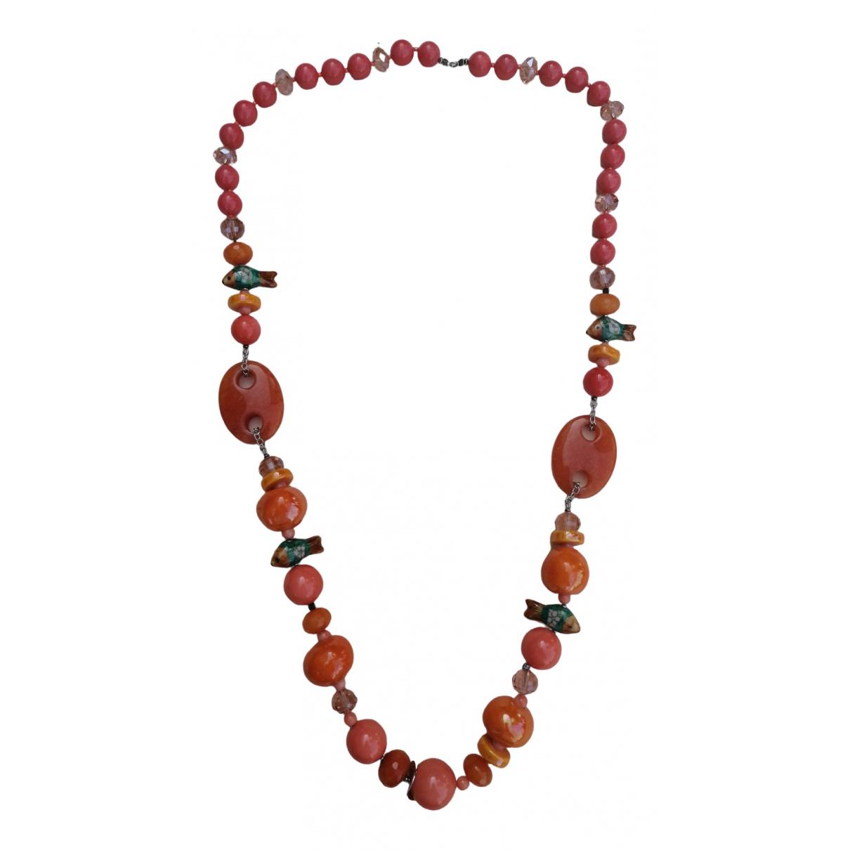 Non Signe / Unsigned \N Halskette in  Orange Keramik