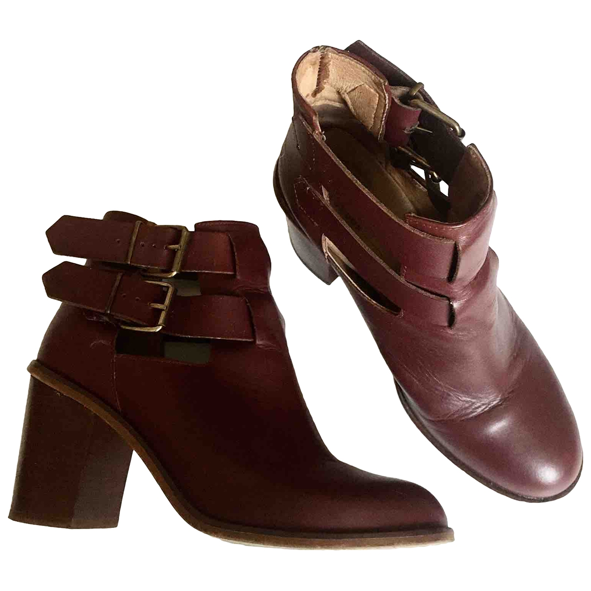 Office London - Boots   pour femme en cuir - bordeaux