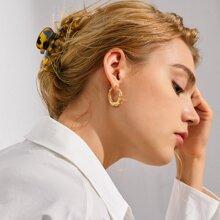 Textured Moon Shaped Stud Earrings