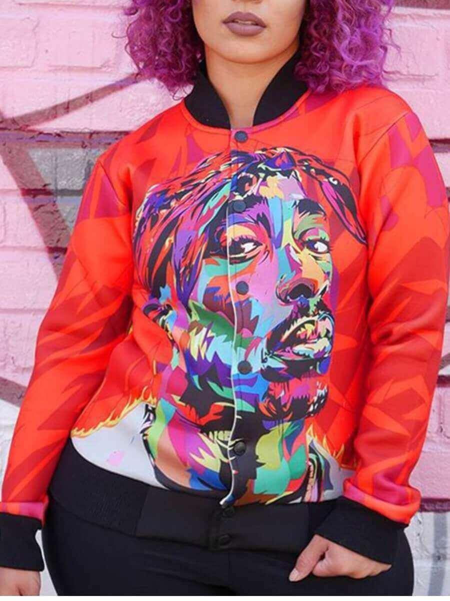 LW Lovely Street Print Red Jacket