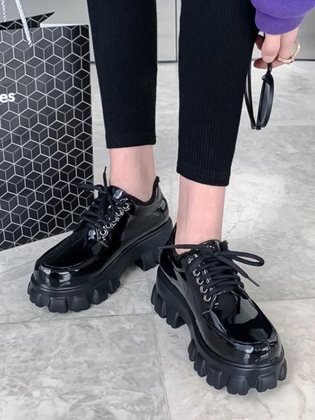 Milanoo Oxfords negros con cordones y punta redonda de cuero PU para mujer