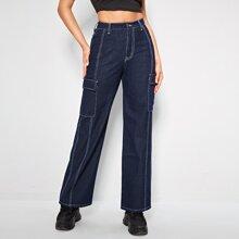 Jeans mit Taschen Klappe, Stich und geradem Beinschnitt